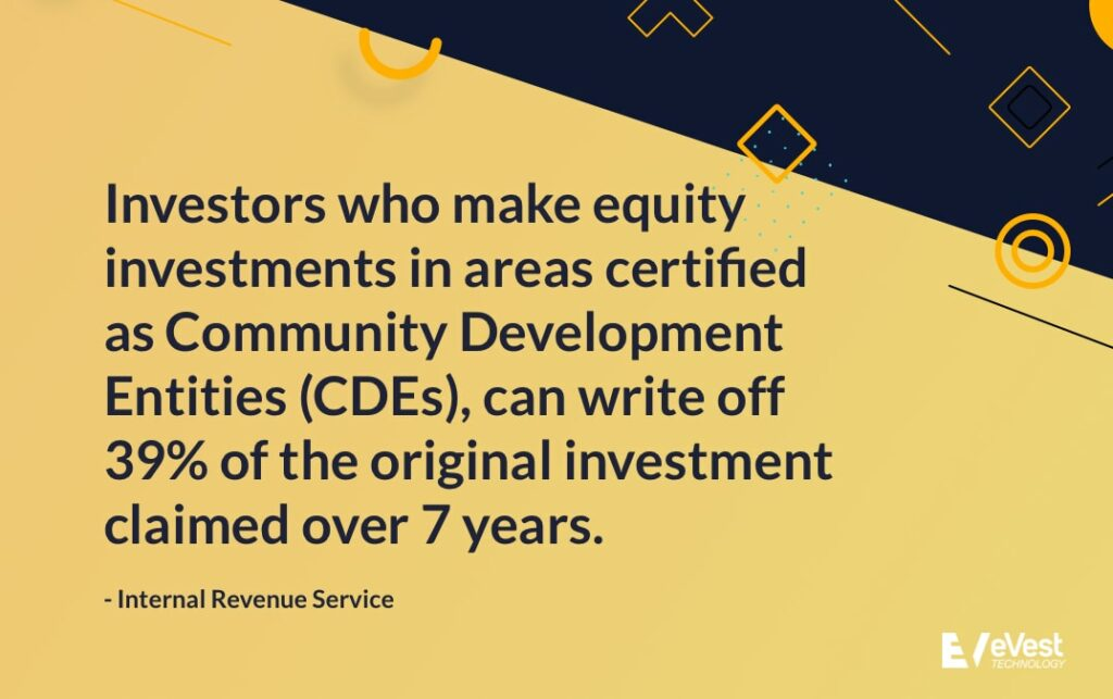 Investors who make equity investments in CDEs, can write off 39% of the original investment claimed over 7 years.