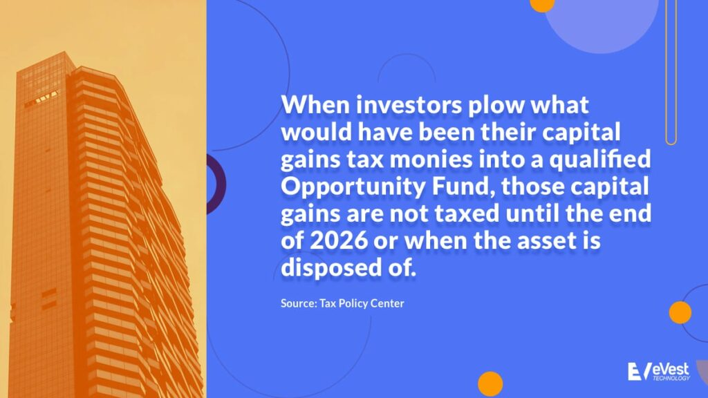 When investors plow what would have been their capital gains tax monies into a QOF, those capital gains are not taxed until the end of 2026 or when the asset is disposed of.