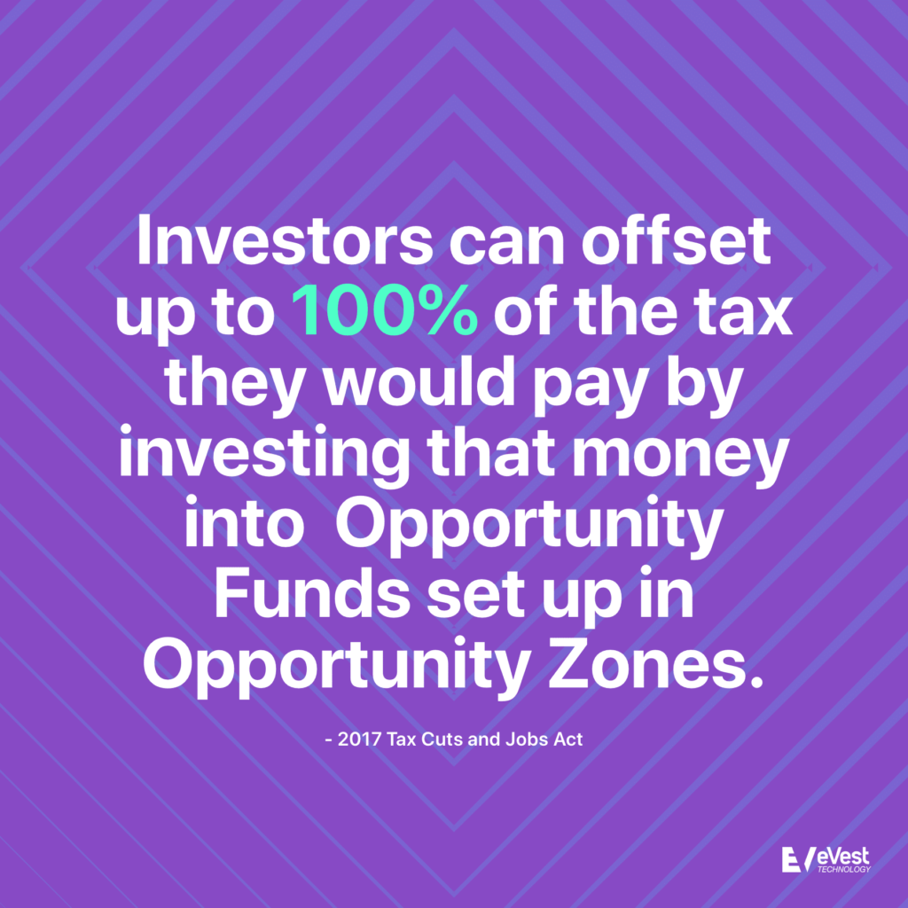 Investors can offset up to 100 percent of the tax they would pay by investing that money into Opportunity Funds set up in Opportunity Zones