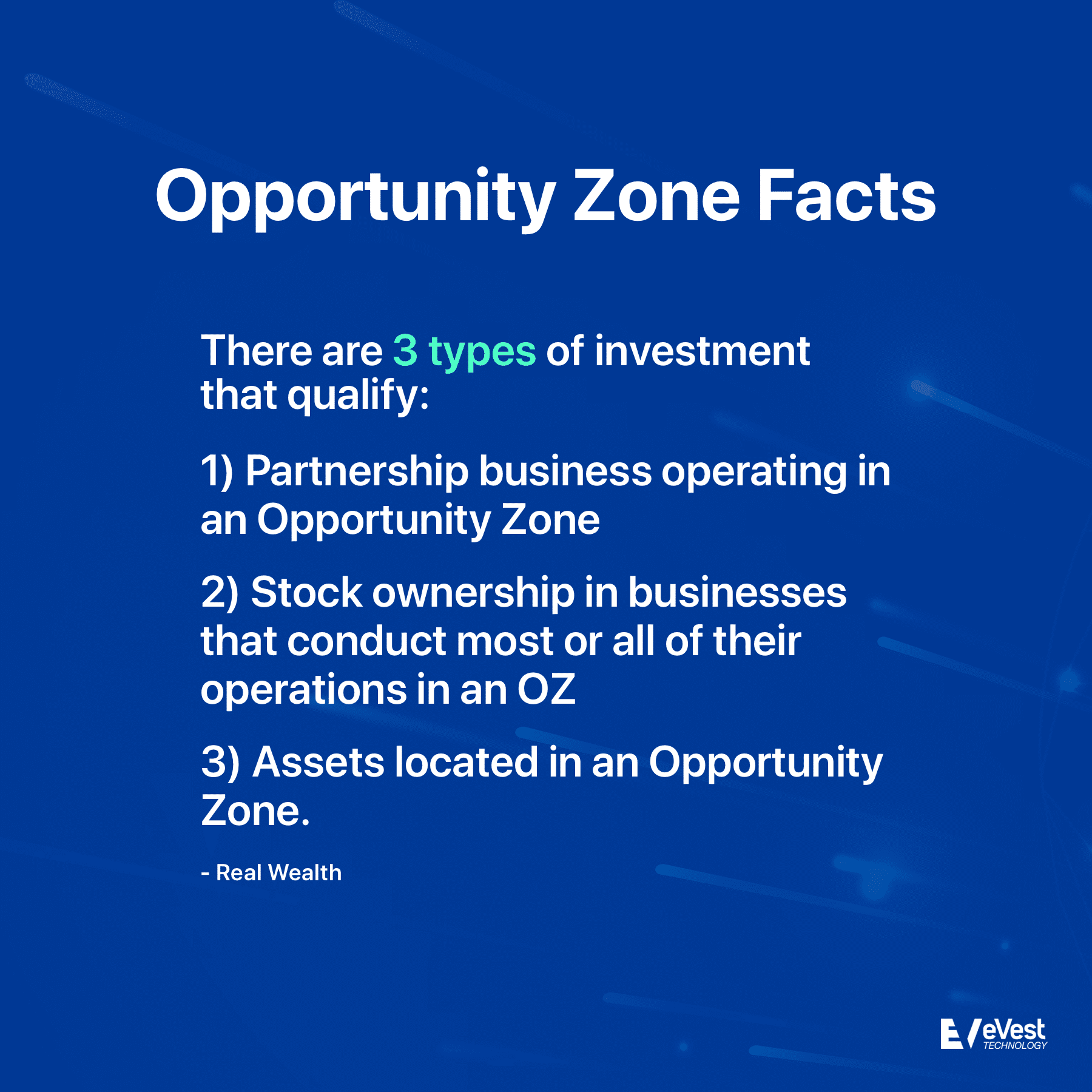 There are 3 types of investment that qualify for Opportunity Zones